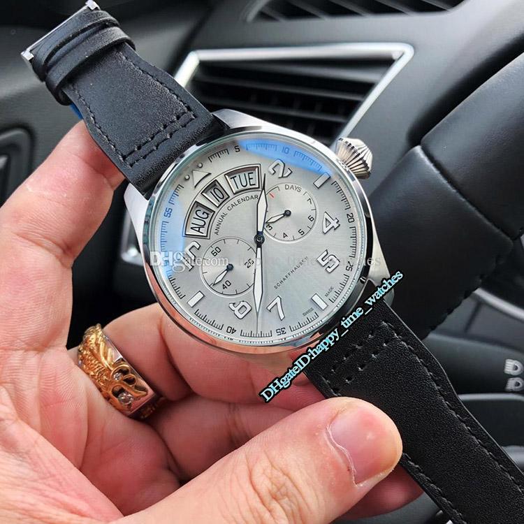 3 Style New Hot 42mm IW503501 Silber Lünette Weißes Zifferblatt Automatische Mechanische Tourbillon Herrenuhr Schwarz Lederband Herren Sportuhren