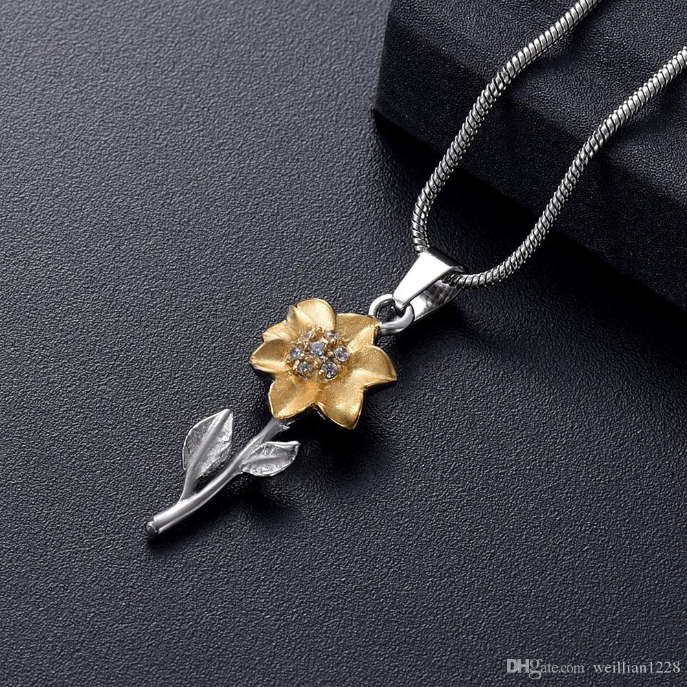 AirAh04 Femme Accessoires Bijoux - Collier de Crémation Inoxydable Forme Médaillon En Forme De Tournesol Gardez Vos Cœurs Bien Cendrés