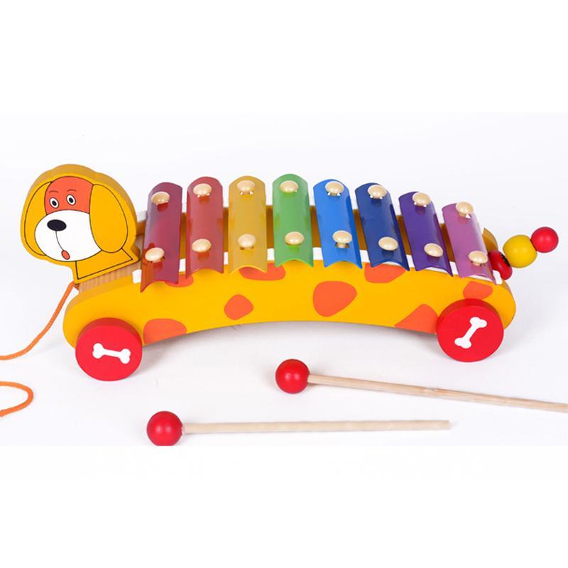 طفل خشبي الأطفال اللعب الضوضاء صانع لعبة الموسيقية إكسيليفون سيارة سحب الحيوان اليد وضرب البيانو Y19062803