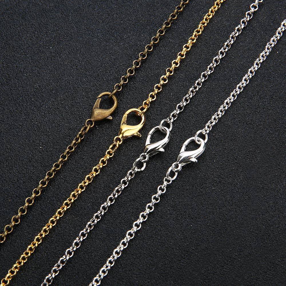 10PCS / الكثير الذهب وقطع أثرية فضية اللون البرونزي 3MM جولة لينك قلادة مع المشبك جراد البحر 60CM صالح DIY مجوهرات جعل نتائج