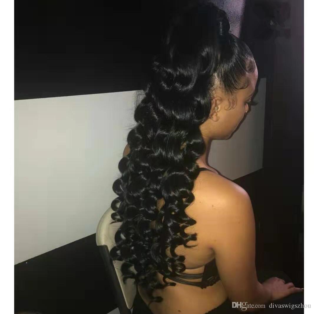 Brazilian Virgin Natural Black Clip In Elastic Band Drawstring Curly Body Wave Real Human Hair Ponytail Hair Extensions 160g
