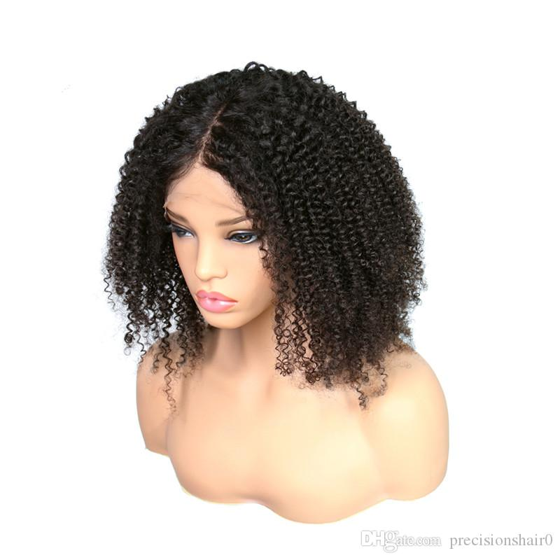 Hot selling Afro Kinky Curly Wig Human Hair Kinky Curly Full Wigs with bangs in stock