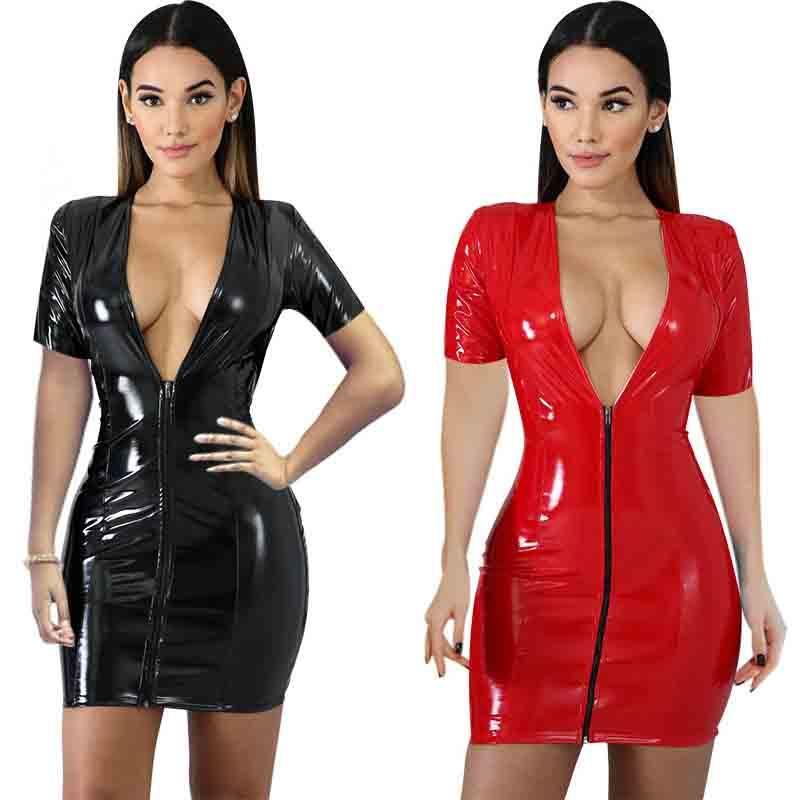 Women Sexy Club Party Short Dress Solid Black Red Bodycon Faux Leather Dress For Ladies Slim Clothing Free Shipping