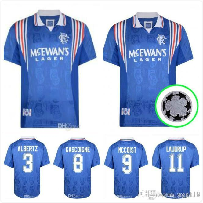 1996 1997 Glasgow Rangers maillots de football rétro 96 97 Maison Bleu Vintage #8 GASCOIGNE #11 ALBERTZ #6 FERGUSON classique chemises de football