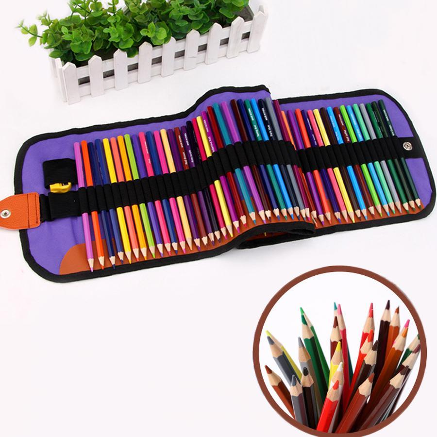 Wholesale 72 Pcs/Set School Pencil With Folding Black Pen Bags Students Mix Colors Pencil With Pouch Drawing Art Pencil