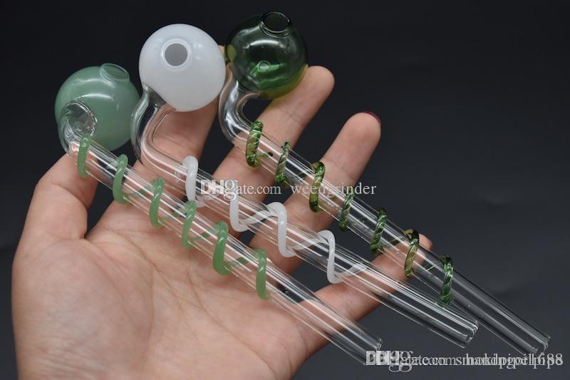Новая спираль Стекла масло трубных Трубы Мини стекло масло горелка Труба красочных ручные Трубы Pyrex стекла для курящего Масла Dab
