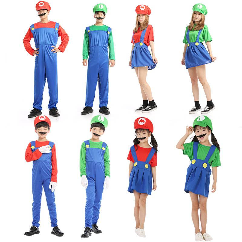 Free Shippiing Hot Sale Super Mario Cosplay Costumes Kids Funy