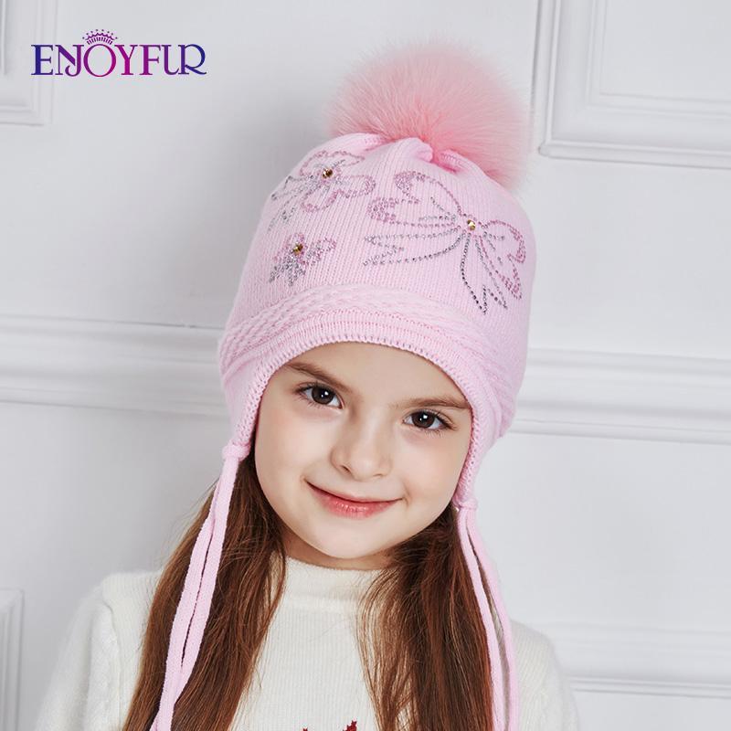 ENJOYFUR Strass Bow-Knoten Kinder Hüte Winter wirklichen Fox-Pelz-Pompom Strickmütze Mädchen Schöne rosa Mädchen-Mützen Herbst Caps Y191112