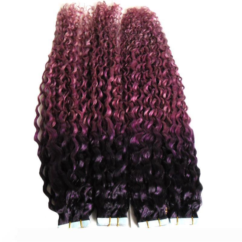 Kinky-Curly Skin Weft Band Extensions Lila rosa ombre Haar-Verlängerungen 80pcs 200g Menschenhaar-Band-Haar-Verlängerungen