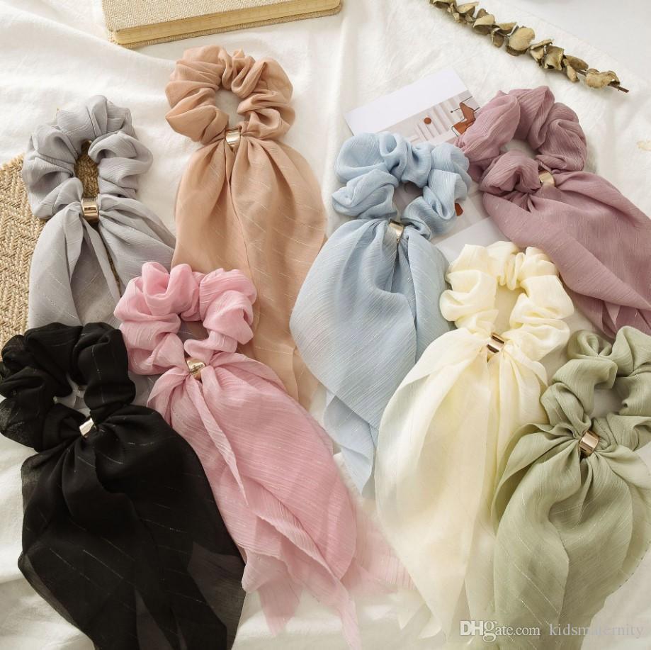 INS Summer Sweet Chiffon Hair Scrunchies Arco Mujeres Accesorios Bandas Para el Cabello Lazos Scrunchie Ponytail Holder Cuerda De Goma Decoración Big Long Bow
