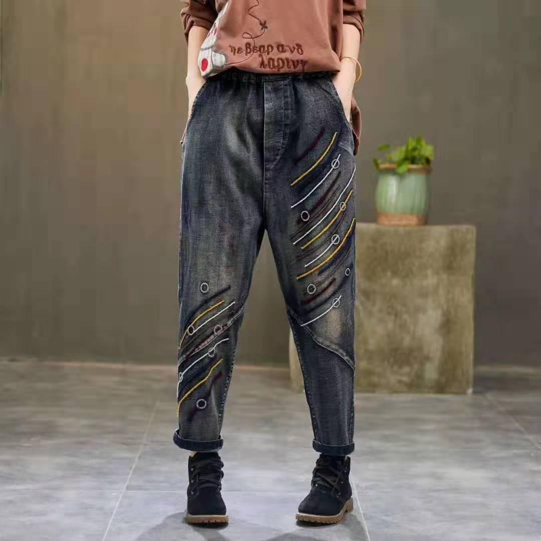 Weinlese-beiläufige Denim-Jeans-Frauen-elastische Taillen-Stickerei Blass Spliced Haremshosen wilder weiblicher Herbst Retro Cowboy Jean Tide