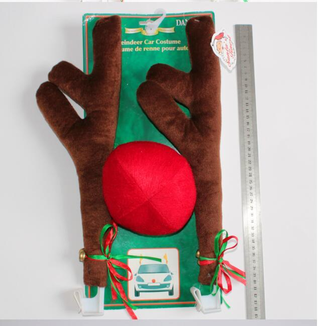 New Design Reindeer Antlers and Red Nose Car Kit Christmas Fun Rudolph Reindeer Ears for all vehicls car