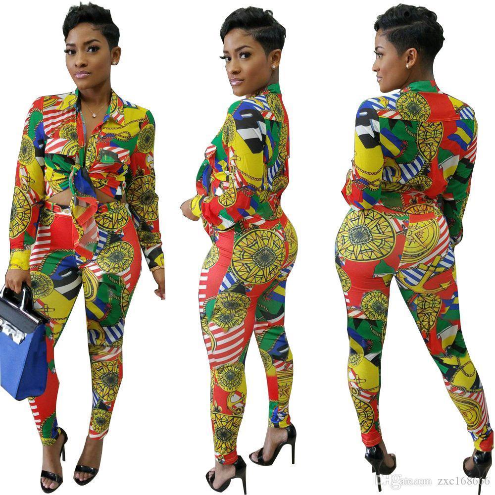 donne maniglia Tuta sportiva a due set di pezzi Tute donne casuali della camicia a maniche lunghe autunno Stampa parti superiori e la lunghezza pantaloni tute partito Suit
