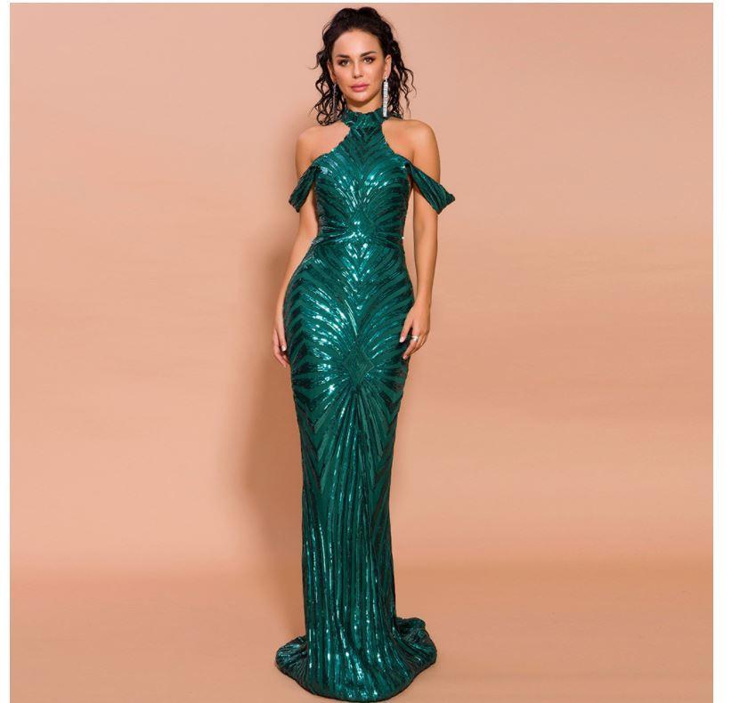 Popüler Avrupa ve Amerikan fishtail elbise, yeni yüksek yaka akşam parti elbise, koyu yeşil renk, fabrika nokta satış, düşük fiyat Promosyon