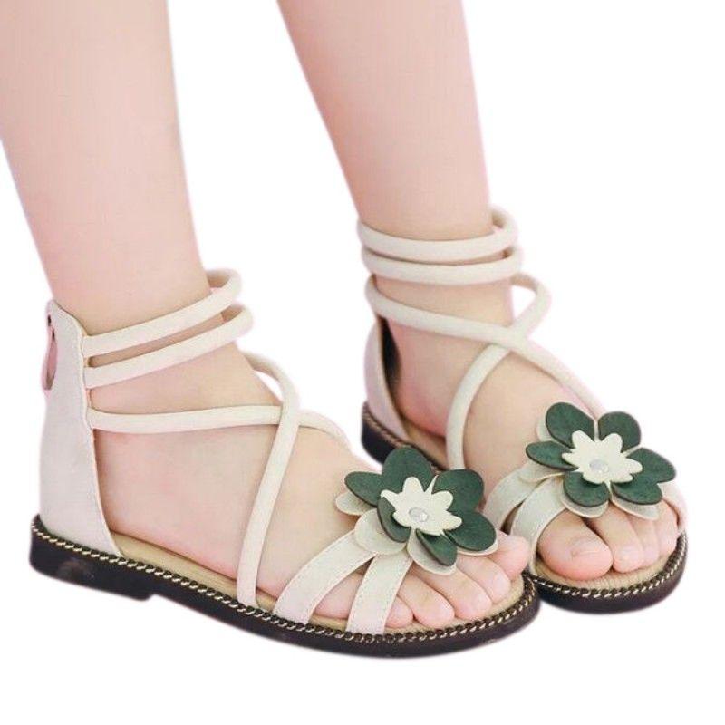 Girls Open Toe Flat Sandals Kids Summer Flower Strap Slip On Beach Outdoor Princess Sandal Shoes