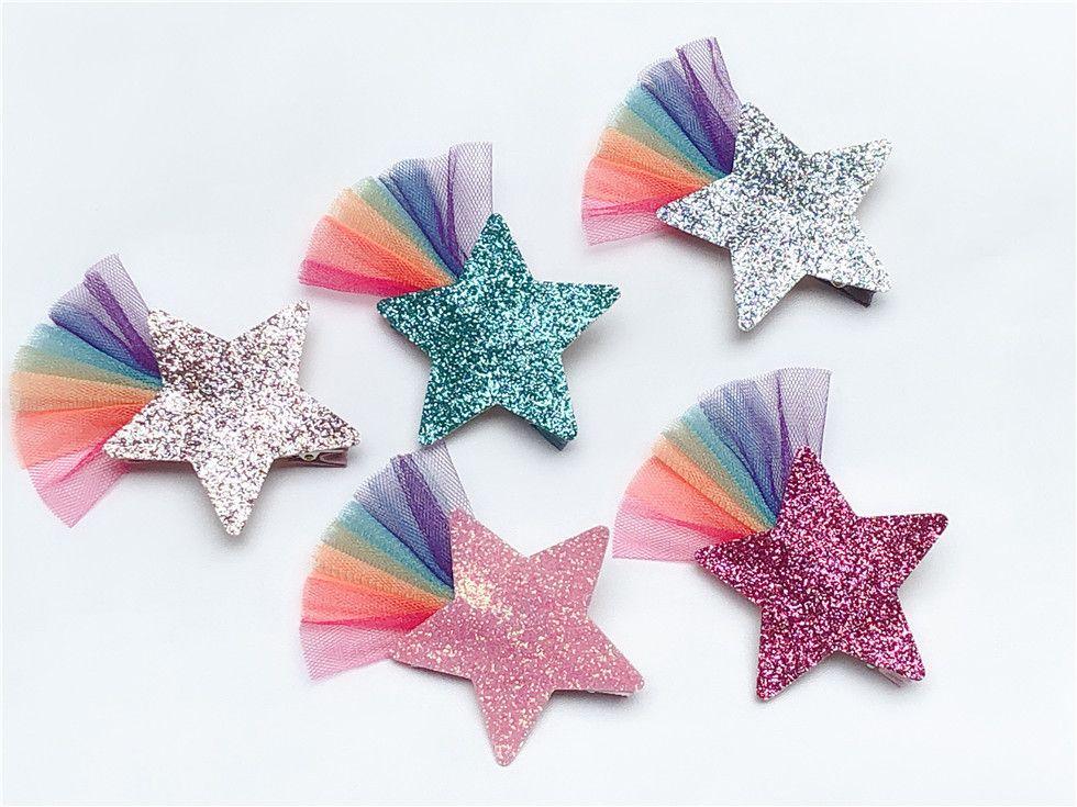 ins Boutique Cute Fashion Glitter étoiles Hairpins solides arc-en dentelle étoile Barrettes Princesse Chapeaux Accessoires de cheveux