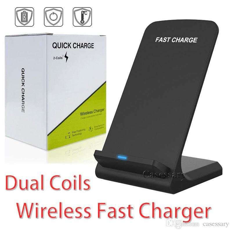 Área de trabalho Fast 2 Colis QI sem fio carregador com pacote de varejo para o iPhone 8 X XR XS MAX Samsung S8 S9 S10 Além disso,