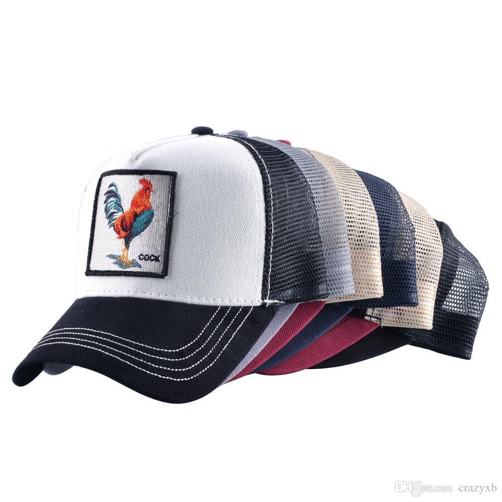 Nueva sombrerera gorras de béisbol Rooster bordado sombreros Snapback transpirable huesos de malla moda Streetwear Cock Trucker Cap mujeres