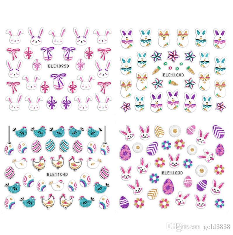 2020 Nueva Pascua de uñas huevo conejo pegatinas de dibujos animados del polluelo Wraps etiquetas de DIY Nail Art manicura de la decoración