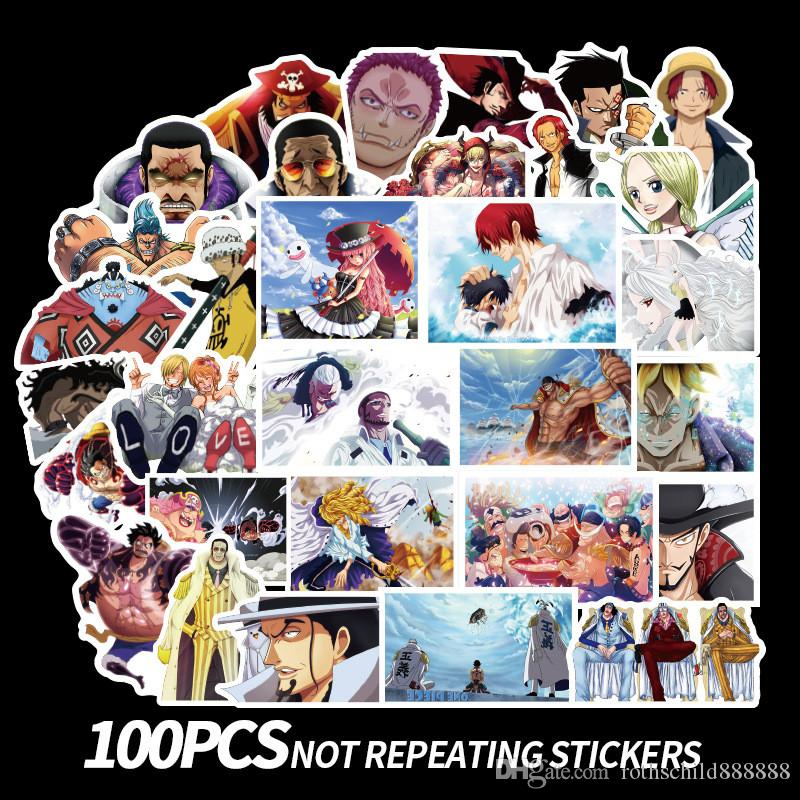 100Pcs/Set One Piece Graffiti Stickers Japanese Anime Stickers For Motorcycle Notebook Luggage Bicycle Skateboard Pegatinas