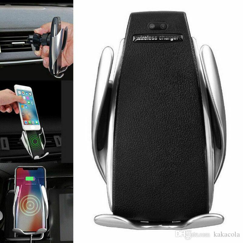 2020 Sıcak S5 Araç Kablosuz Şarj Otomatik Sensör İçin iPh Xs Max Xr X Sam S10 Akıllı Kızılötesi Hızlı Wirless Şarj Araç Telefonu Tutucu