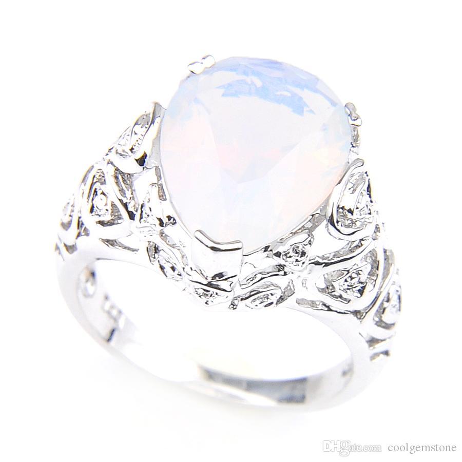 Luckyshine Påsk Stor Populär Style Moonstone Ovala Teardrop Shaped Silver Plated Bröllop Ringar För Älskare Två Alternativ R0058 R0345