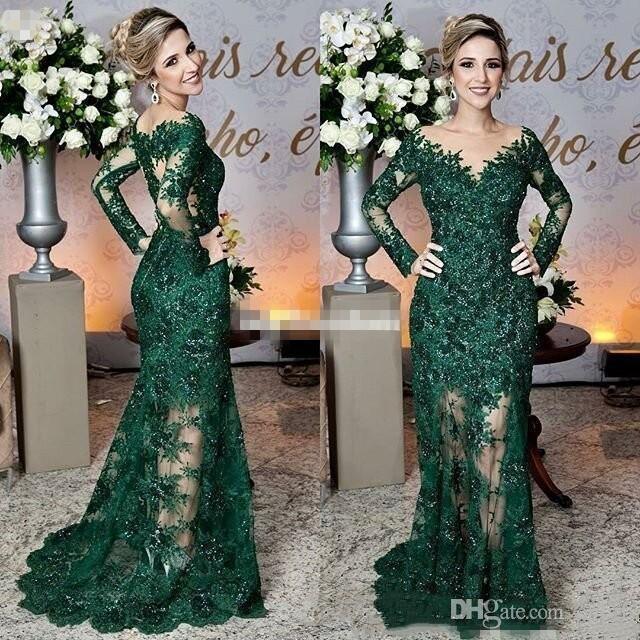 신부 드레스의 최신 어두운 녹색 어머니 깎아 지른 보석 목 레이스 아플리케 긴 소매 인어 공식적인 저녁 댄스 파티 드레스