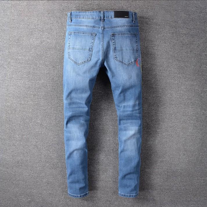 2020 pantalones vaqueros de diseñador de moda de verano para hombre, pantalones vaqueros rectos delgados, pantalones casuales de mezclilla para hombre, venta al por mayor-O3