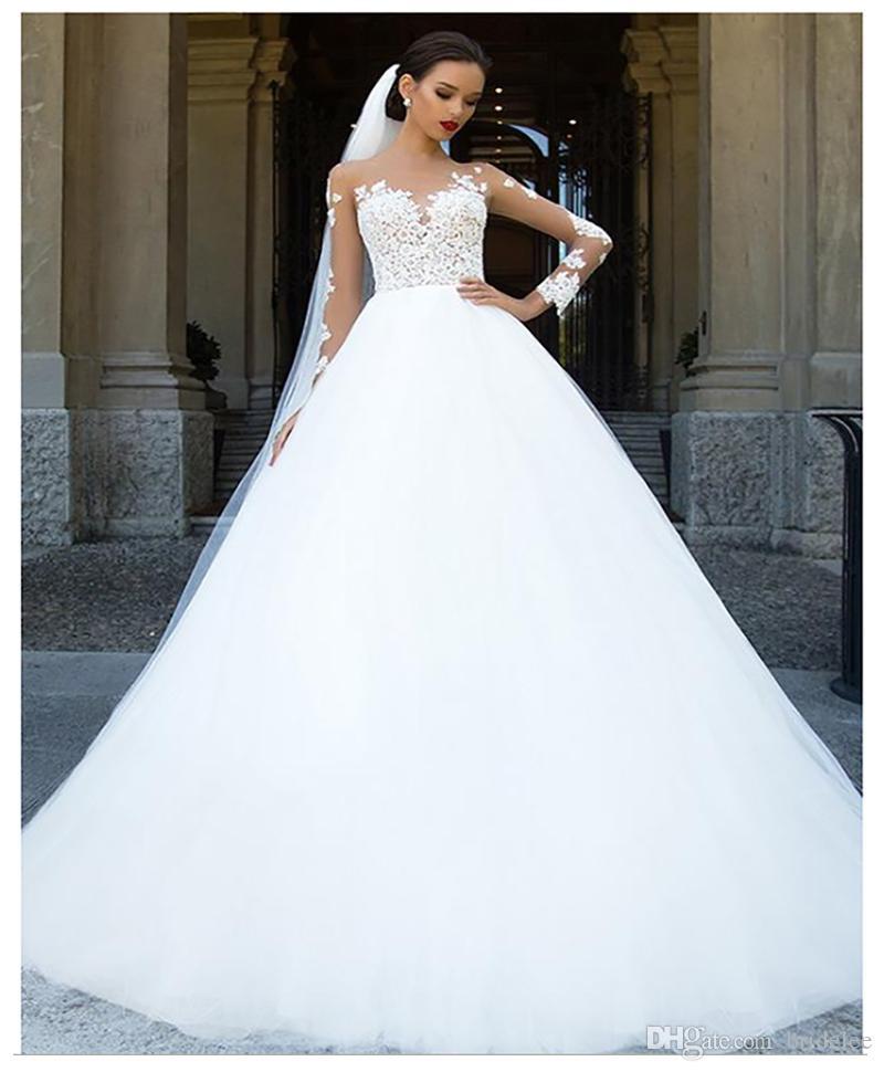 Vestiti Da Sposa Di Pizzo.Acquista Abiti Da Sposa A Maniche Lunghe 2020 Abito Da Sposa Da