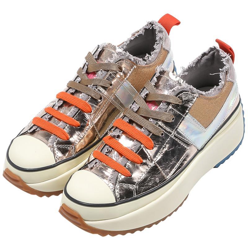 Sneakers Pathwork Cores mulheres sapatos casuais Plano Plataforma respirável tênis Handmade Mulheres Flats macia Correndo Chunky