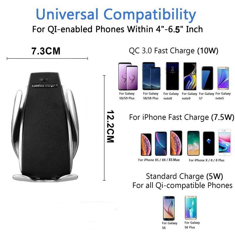 S5 자동 센서 자동차 무선 충전기 아이폰 X가 최대 삼성 S10 S9 지능형 적외선 고속 이러한 무선 충전 자동차 전화 홀더