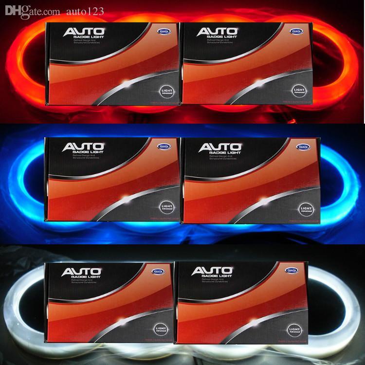 4D LED 자동 차 화이트 블루 레드 조명 꼬리 후면 로고 배지 엠블럼 라이트 램프에 맞추기 위해 아우디 Q5 A3 18 * 5.8cm