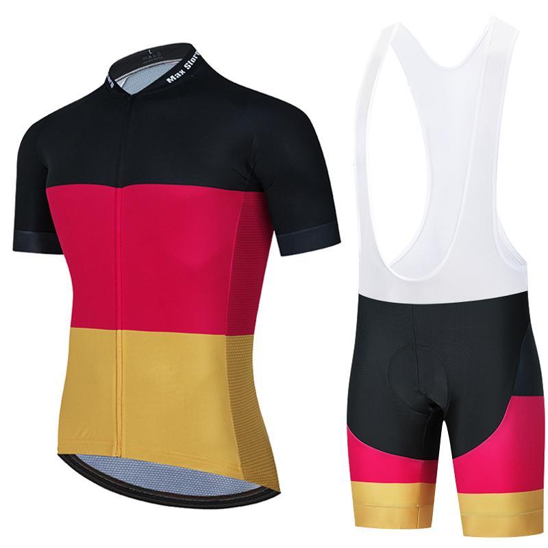 2020 Noir jaune rouge Cycling Team Jersey Route personnalisé course de montagne Top Vêtements de vélo vêtements de vélo de course max tempête ensembles vélo vêtements