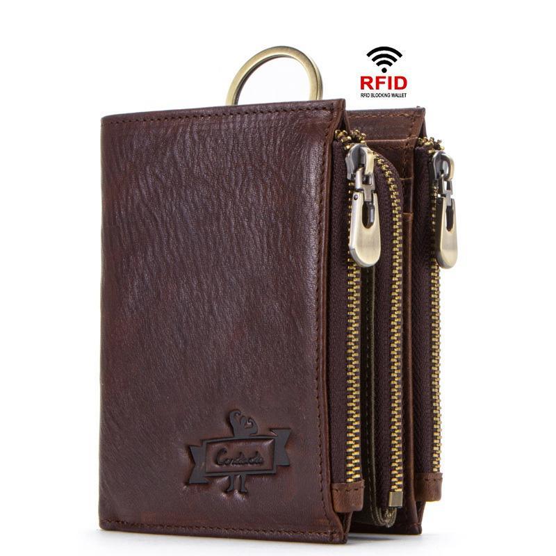 100 % 소 가죽 남성 지갑 RFID 남성 portmane 짧은 cuzdan 망 카드 홀더 동전 지갑 cartera의 아저씨 남자의 지갑 M1273