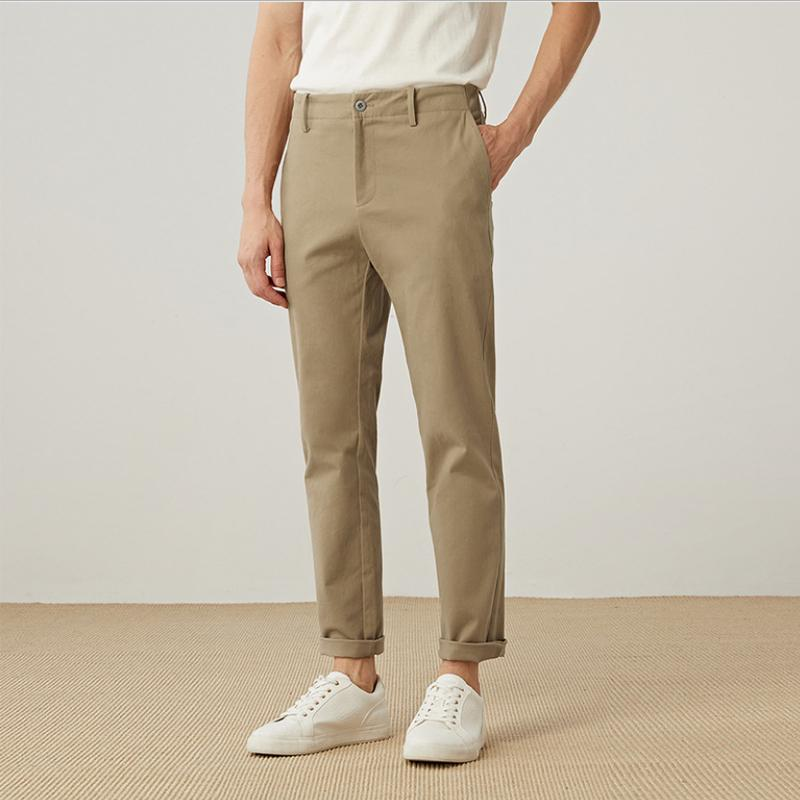 casuais calças calças calças dos homens primavera e da moda outono 9 pontos preto cáqui cinza calças masculinas três cores sólidas