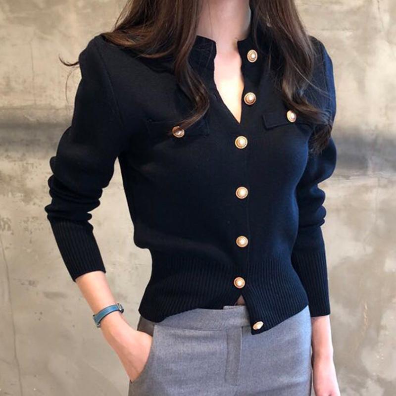 Tricoté court Cardigan Femmes Pull coréenne manches longues simple boutonnage Pulls Femme Automne 2019 Printemps Cardigans Femmes V191130