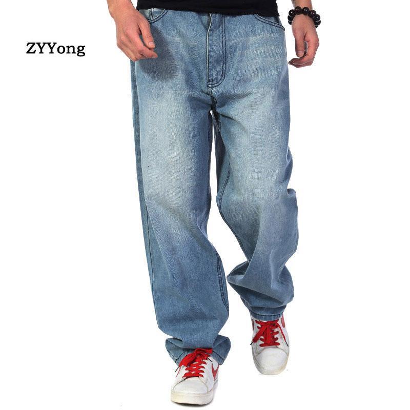 Nueva manera de los hombres de los pantalones vaqueros del vaquero suelto recto harem holgado del dril de algodón Pantalones Casual pierna ancha pantalones azul más el tamaño 30-46