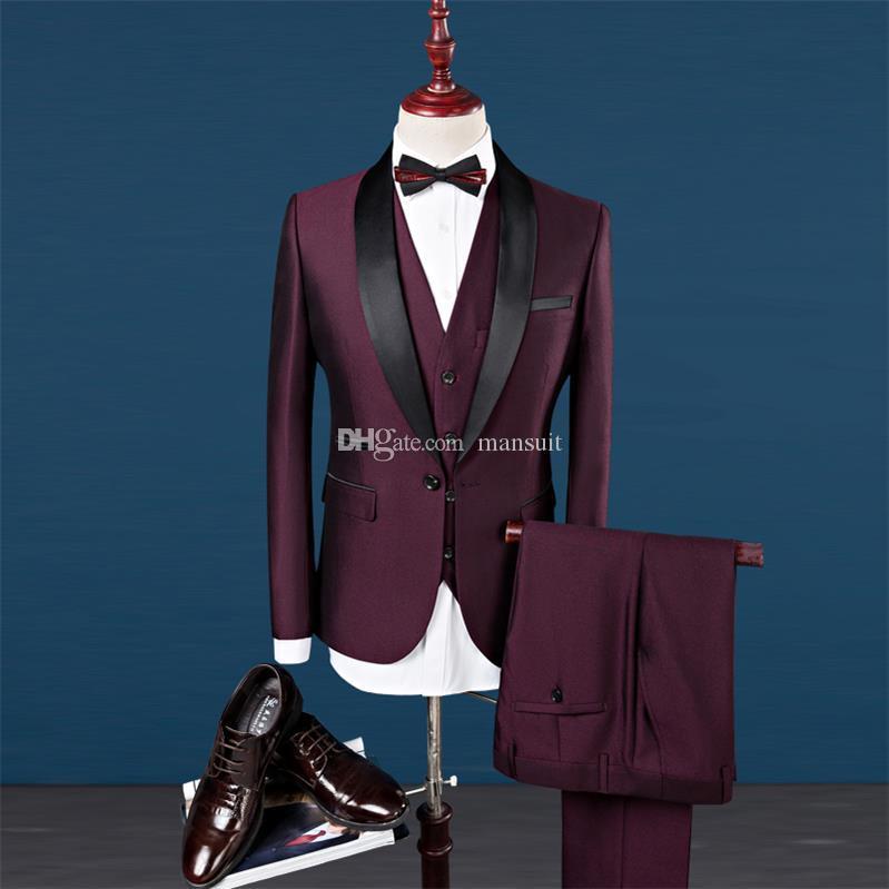 사용자 정의 만든 Groomsmen 목도리 옷깃 신랑 턱시도 Burgundy 남자 정장 결혼식 / 댄스 파티 / 저녁 식사 최고의 남자 블레이저 (자켓 + 바지 + 조끼 + 넥타이) M1154