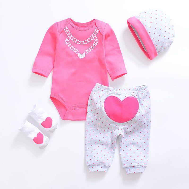 2019 Baby Girl Одежда 4 шт. Набор Одежды Розовый Хлопок Ползунки Белый Точка Брюки Сердце Обувь Милашки Hat Новорожденных Одежда Y19061303
