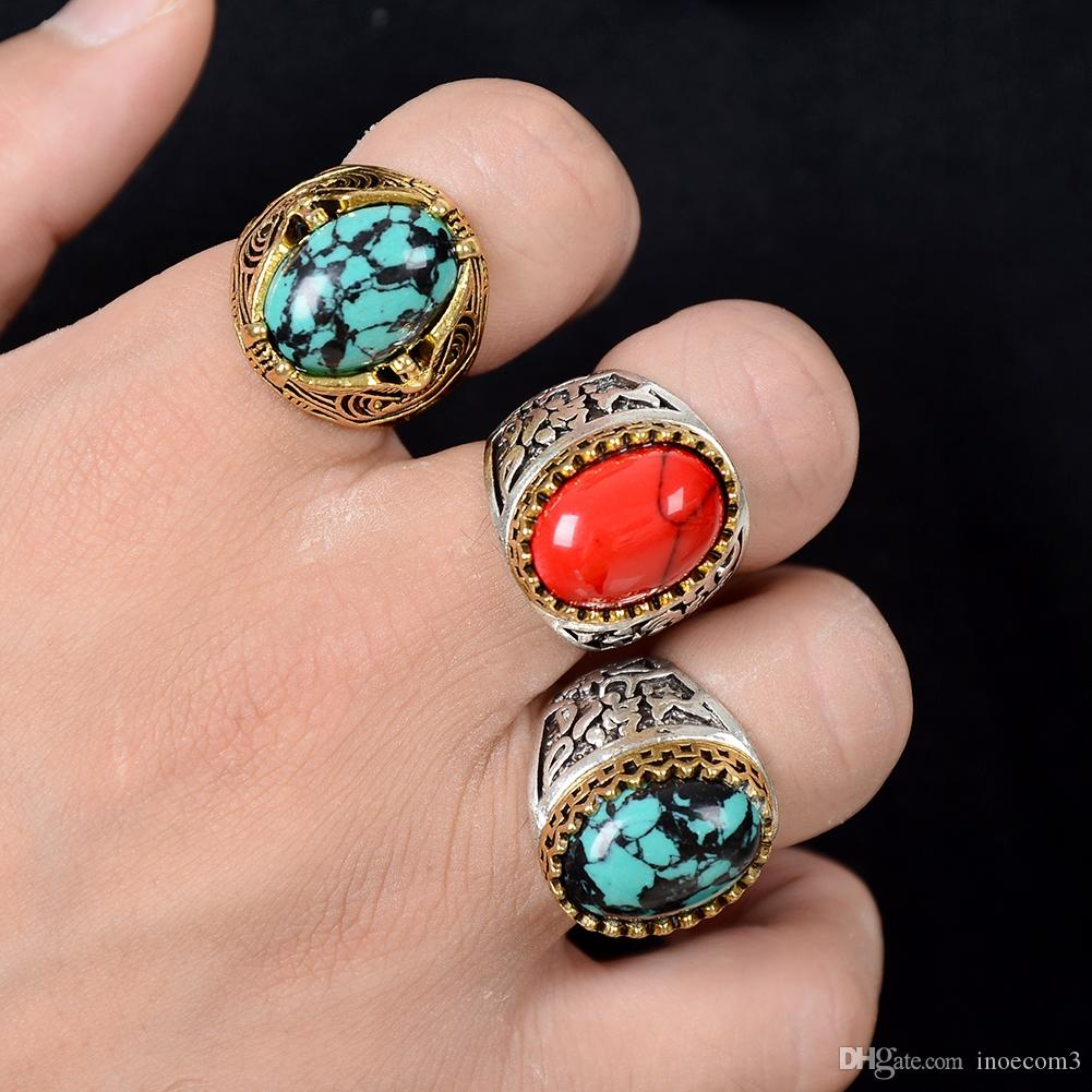 Vintage Gold Silver Big Stone Rings 17 21mm For Women Men Fashion
