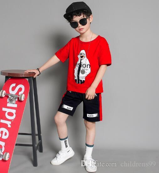 2019 VENTA CALIENTE clásico Nuevo estilo 2-9 años Ropa infantil para niños y niñas Traje deportivo Bebé Infantil Ropa de manga corta Niños Set ORED