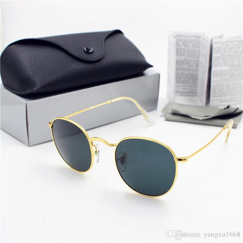 Calidad redonda High New Black Case Retro 1 unids 50mm Gafas de sol Oro Vidrio Moda Mujeres Mujeres Lente UV400 Protección Negro Marco Latnw