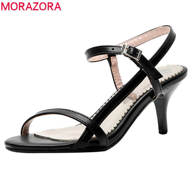 MORAZORA 2019 47 sandalias Tamano mamie de mujer pu hebilla stiletto tacones altos sandalias elegante fiesta boda Zapatos mujer Sandalias de