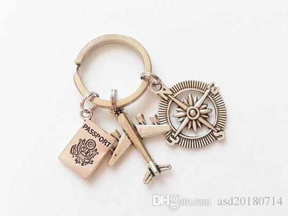 2019 New Hot Ancient Silver Airplane Compass Pendant Flight Travel Keychain Keyring Popular Hot Tourist Souvenirs Women Men Jewelry Gift