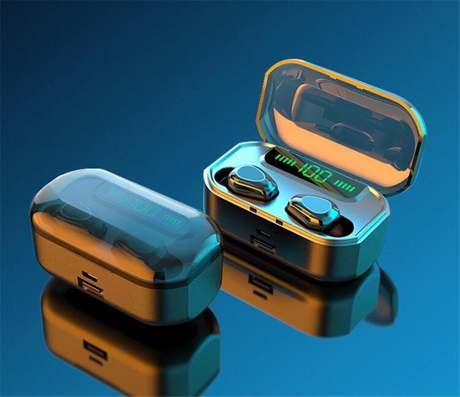 2000 mAh Bluetooth écouteurs 5.0 TWS Écouteurs stéréo sans fil Mini écouteurs sans fil avec micro LED Display Power Power Bank # OU889