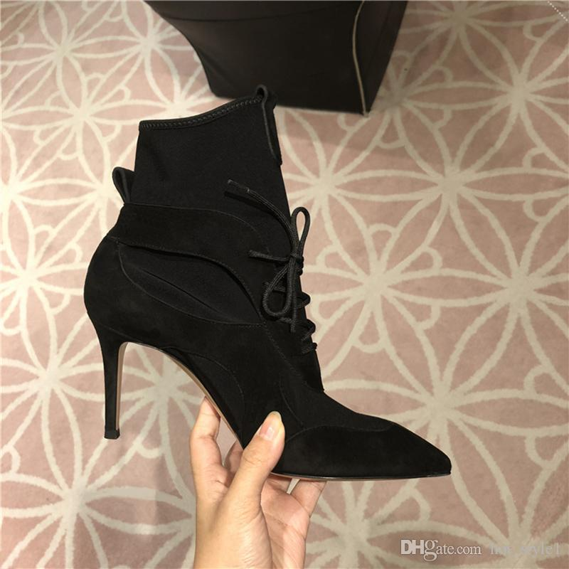 svart lace up stiletto støvler low cost