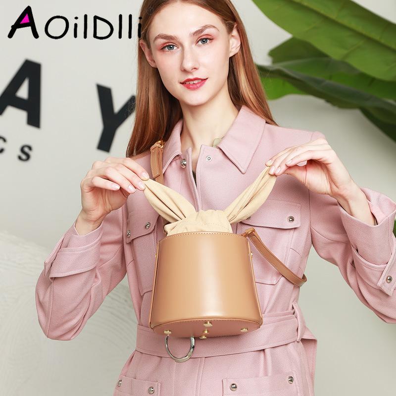 Cylindre AOildlli petit cuir véritable sacs féminins Box Sacs High Sacs pour sacs à main de qualité Seau à épaule 2020 Femme Pack WXSLA