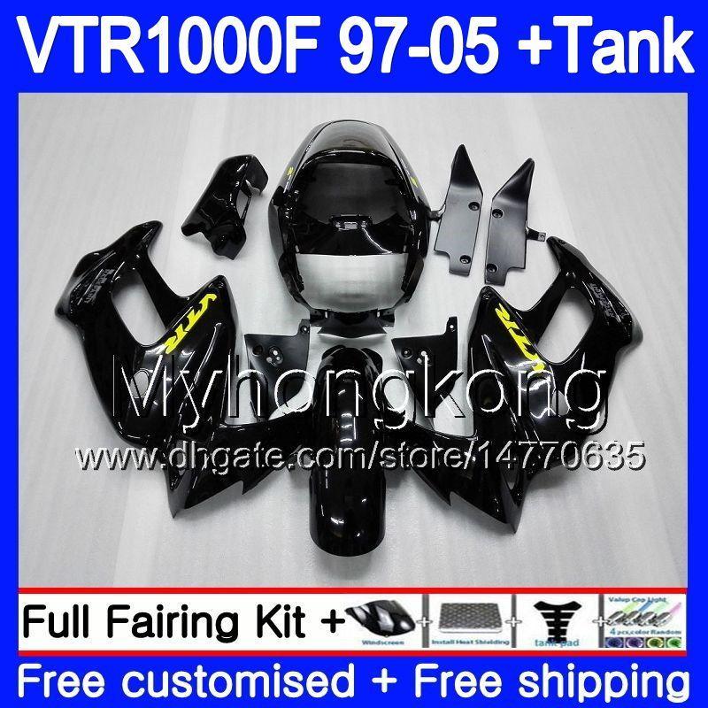 Ciało dla Honda Superhawk VTR1000F 97 98 99 00 01 02 256HM.0 Vtr1000 f Vtr 1000 F 1000F 1997 1998 1999 2000 2001 2002 Błyszczący czarny
