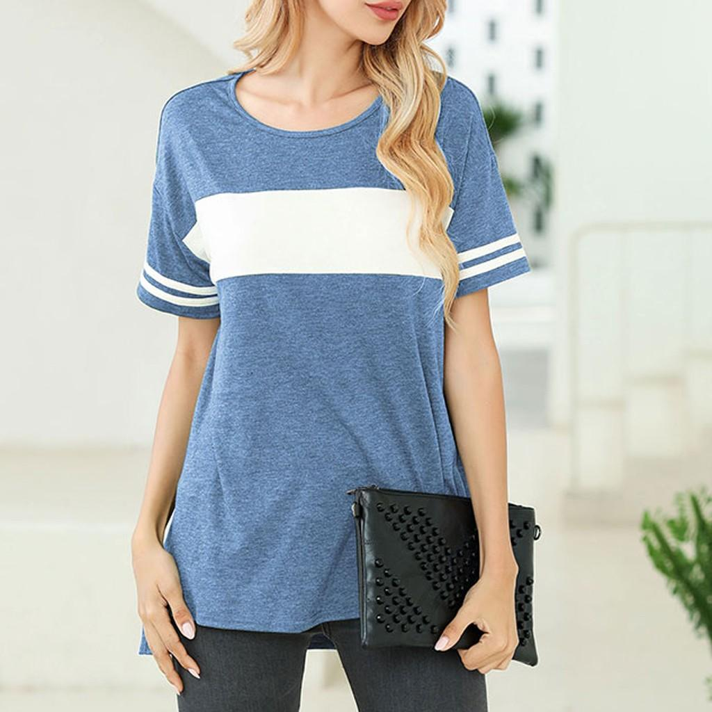 Summer T-shirt Women Patchwork Color Top Block Short Sleeve Shirt Round Neck Side Split High Low Tunic Femme Streetwear Top Tee