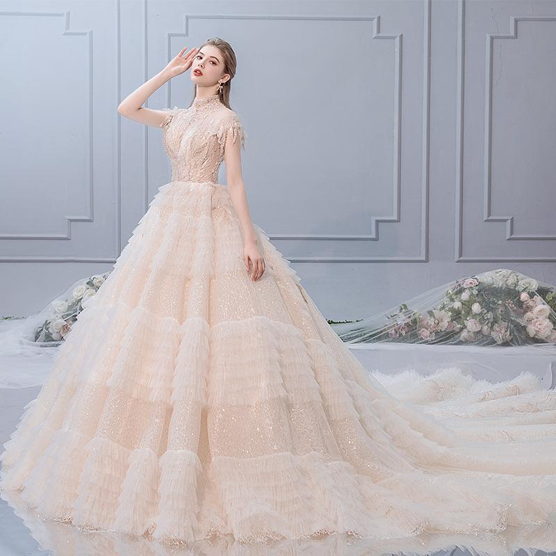 여성 BLN002를위한 럭셔리 긴 기차 공주 레이스 웨딩 드레스 신부 섹시한 환상 얇은 명주 그물 크리스탈 비즈 웨이브 웨딩 드레스